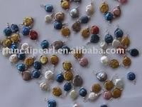 wholesale mix color coin freshwater pendant for bracelet necklace