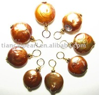 12mm Dark Golden AAA+ Quality Loose coin freshwater pearls beads dangle chrams