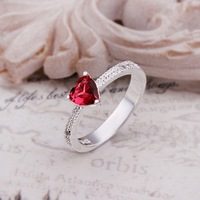 Free Shipping R252 High Quality Fashion Jewelry 925 Silver Red Crystal Elegant Heart Ring For Ladies