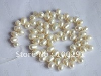 White color Loose 16inch Long 7-8mm Freshwater pearl strand