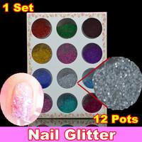 [ NG - DR06 ] 12 Pots Nail Art Glitter Set, Paillette Powder Spangles Decoration For UV Nail + Free Shipping