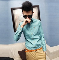 Spring and summer casual small mushroom embroidery slim shirt solid color men's clothing male long-sleeve shirt
