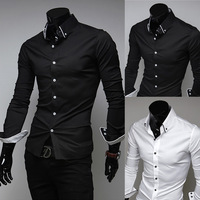 Male shirt spring and summer solid color shirt fashion casual hemming long-sleeve shirt men's clothing slim