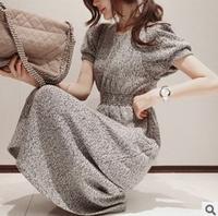 New 2014 Fashion Elegant Puff waist Slim Knit Dress Free Shipping     q2174