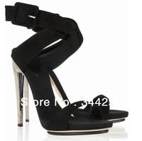 Custom-made Sexy Straps Cross Suede Heels 13cm High Heel Shoes Sandals,silver sculpted heel Platform Dress Shoes