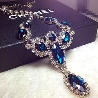 Free Shipping Fashion Luxury 18K Gold Plated Rhinestone Personalized All-Match Blue Gem Shape Choker Necklace 2013 Newest