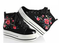 2013 fashion chinese style embroidered women's platform shoes lacing round toe rhinestone genuine leather single shoes Women