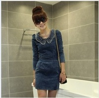 Women dresss Pearl doll collar Slim thin long-sleeved casual denim dress Ladies Dresses Female Dress Women dresses