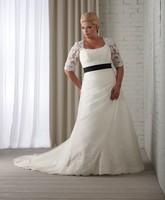 A-Line Scoop Floor-Length Sweep Train Soft Satin Plus Size Wedding Dress With Black Belt HWGJWD103