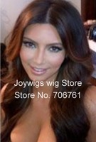 "Free shipping cheap black celebrity 16"" 3B big wave  Brazilian virgin hair glueless lace front wigs with bangs in stock"