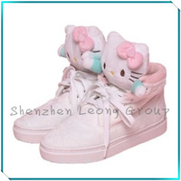 2013 high shoes hello kitty genuine leather increased heels casual women sneakers color matching