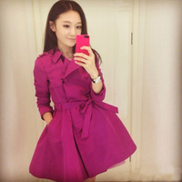 2013 autumn elegant long-sleeve slim double breasted outerwear medium-long trench skirt-style female