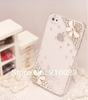 Luxury 3D Crystal Flower Bling Diamond Case For Apple iPhone 5S phone case Free Shipping 1pcs+1 dustproof plug