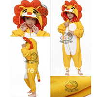 Christmas Gift Orange hat Yellow Lion Cosplay Costume KIGURUMI Pajamas Party Hallowmas kit children kids unisex Animal pajamas