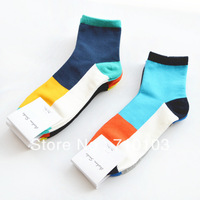 2014 new arrival fashion America/Europe fine quality cotton candy patchwork  sport men's short socks