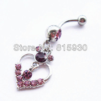 captive crystal heart belly dangle ring navel body piercing jewelry wholesale cheap for women sexy