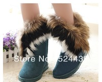 Free shipping 2014 winter warm high long snow boots artificial fox rabbit fur leather tassel women's shoes,size 36-40