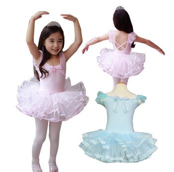 Розничные девушки малышей дети с коротким рукавом одежда балетная пачка танцы платье купальник прекрасный танцевальная одежда ну вечеринку показать 3-8Ages розовый / синий