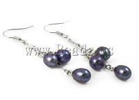 Free shipping!!!Freshwater Pearl Earrings,Kawaii,, Cultured Freshwater Pearl, dark purple, 6-7mm, 56mm, 10Pairs/Bag, Sold By Bag
