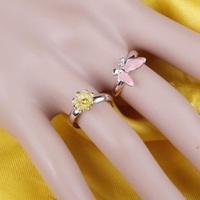 2PCS/Set OL Rings Gentle Cute Butterfly Flower Rings for Women Lady Girls Fashion Ring,