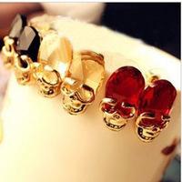 Free Shipping 18K Retro Fashion Skeleton  Simulated Gemstone Skull Ruby Crystal Gold Women Stud Earring Wholesale