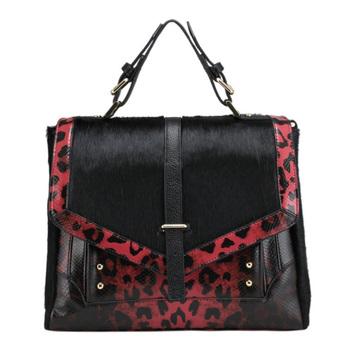 FACTORY OUTLET 2013 NEW Leopard print+Horse hair Women GENUINE LEATHER REAL skin Fur TOTE handbag/Shoulder bag Fashion girl B256