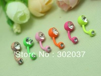 2013 new free shipping wholesale body jewelry piercing 5 color neon candy color double gem belly button ring navel bar