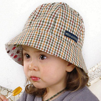 13 plaid baby both sides of the spring and summer sun hat bucket hats bucket hat baby hat  infant hat