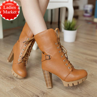 The new tie with thick waterproof Taiwan high with Martin boots Plus size women's booties gladiator women designer pumps
