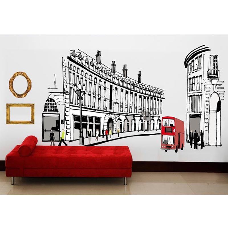 BIG Rome Fashion Street Bus Decal Vinyl Wall Stickers PVC Decor Removable DIY Home Art Wallpaper Room House Sticker(China (Mainland))