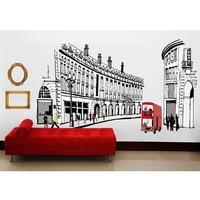 BIG Rome Fashion Street Bus Decal Vinyl Wall Stickers PVC Decor Removable DIY Home Art Wallpaper Room House Sticker