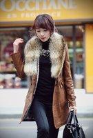 Real raccoon fur collar fur coat long coat Slim detachable fur female jacket winter new leather TB011