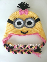 10pcs/Lot Girl  Minion hat crochet pattern - Despecible Me Inspired Minon Hat Cotton Minions Hat  Free Shipping