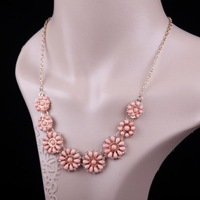 Women Lady Short Paragraph Bohemian Style Shining Disc Acrylic Gem Rhinestone Necklace,