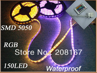 Free shipping 100pcs/lot 5M 5050 RGB Waterproof LED Flexible Strip Light 150 LEDs+24Key IR Remote Controller
