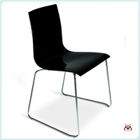 unique acrylic chair, beautiful acrylic chair,black acrylic chair with metal legs