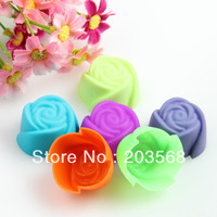 5x Silicone Rose Muffin Cake Baking Mold Chocolate Jelly Maker Mould DIY Tool
