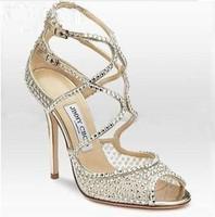 2013 fashion rhinestone shoes round-toe buckle strap sandals women wedding dress pumps free shipping