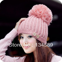 Wholesale Free Shipping (5pieces/lot) Women's Winter Knitted Hat Autumn And Winter Thermal Large Sphere Ear Protector Cap