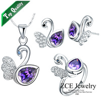 Free shipping Top Quality SWA crystal set fashion jewelry set 18K plated SWAN semi-precious stone amethyst for women