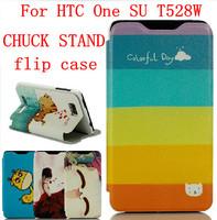 24 species pattern CHUCK STAND flip case for HTC one su case HTC one su cover T528W case flip cover