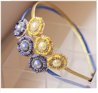 2013 Free Shiping Fashion Han Edition Head-dress Round Beads Millet Bead Hair Hoop Hairpin