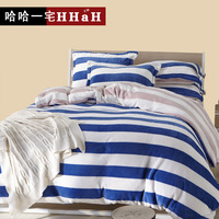 Navy stripe coral fleece FL velvet thickening flannel four piece bedding set thermal duvet cover double layer