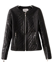 Free Shipping Europ Style Women 2013 fashion grid paragraph motorcycle long-sleeve zipper faux leather jacket,