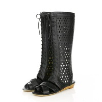 Flat Low heel Black summer shoes woman boots