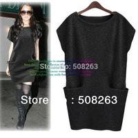 2013 Autumn/Winter One-piece Woman Dress New Arrival Woolen  Plus Size Clothing Fashion Loose Dresses Drop Price LD01