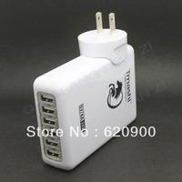 100% GUARANTEE 6 USB Ports Wall Charger 5V 4A AC Adapter EN24 US Plug For  I PAD i Phone HTC SAMSung