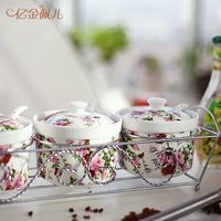 Creative cruet ceramic spice jar set kitchen spices bottle seasoning box rack spoon