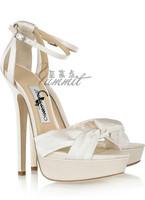 New Arrival white banquet sandals gorgeous brief chain 14cm high-heeled sandals banquet wedding high heels