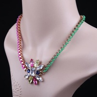 Women Lady Short Design Rhinestone Pendant Hit Color Braided Rope Necklace,